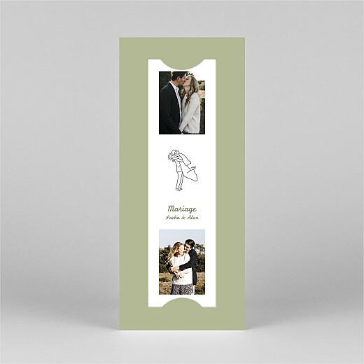 Faire-part de mariage Votre mariage en pictos (marque-page) vert - Vue 3