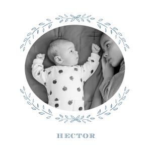 Faire-part de naissance Poème photo bleu gris