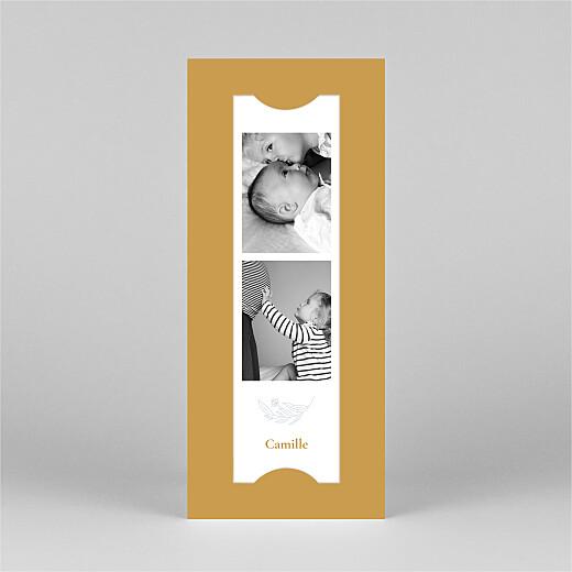 Faire-part de naissance Blason floral (marque-page) jaune - Vue 2