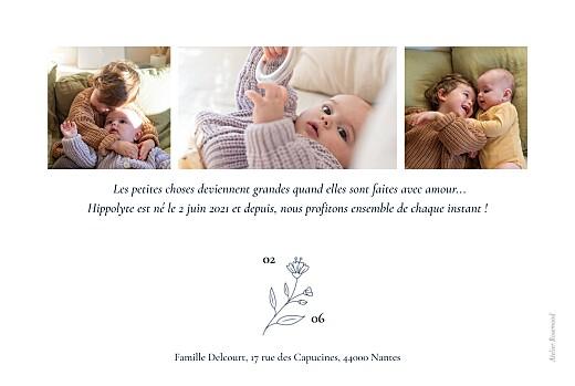 Faire-part de naissance Blason floral bleu - Page 2