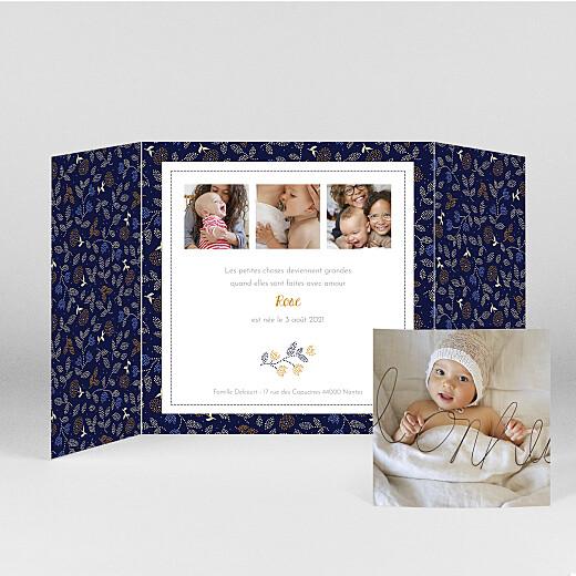 Faire-part de naissance Broderie florale (fenêtre) beige - Vue 2