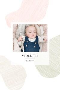 Faire-part de naissance Galet (4 pages) rose