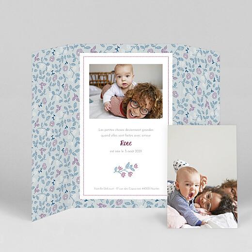 Faire-part de naissance Broderie florale (fenêtre portrait) bleu - Vue 2