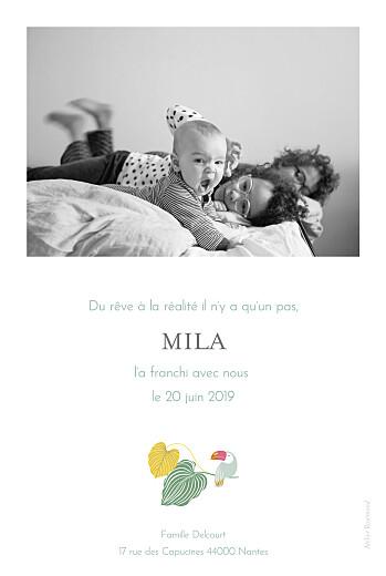 Faire-part de naissance Jardin exotique (portrait) beige - Page 2