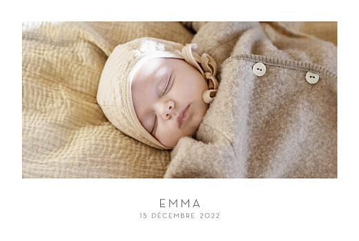 Faire-part de naissance Élégant 1 photo paysage blanc