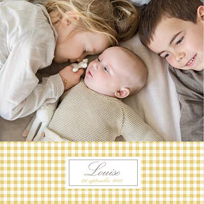 Faire-part de naissance Vichy 2 photos ocre finition