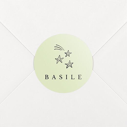 Stickers pour enveloppes naissance Étiquette illustrée vert - Vue 2