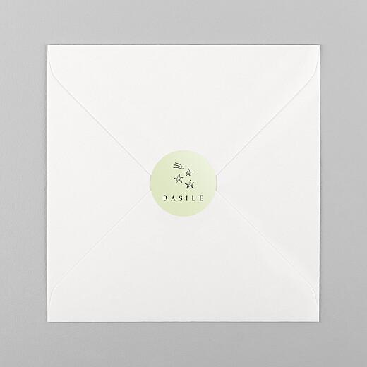 Stickers pour enveloppes naissance Étiquette illustrée vert - Vue 1