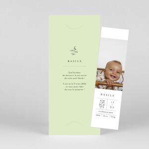 Faire-part de naissance Étiquette illustrée (marque-page) vert