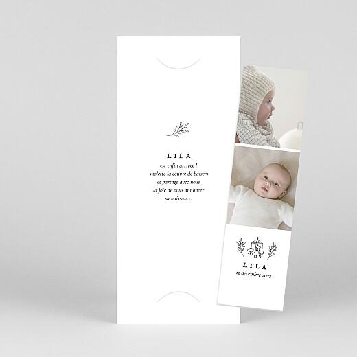 Faire-part de naissance Petite gravure (marque-page) blanc - Vue 1