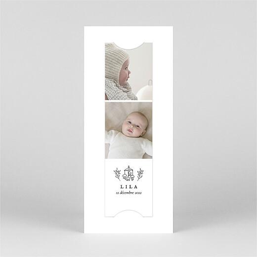 Faire-part de naissance Petite gravure (marque-page) blanc - Vue 2