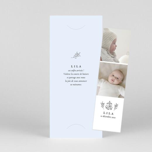 Faire-part de naissance Petite gravure (marque-page) bleu - Vue 1