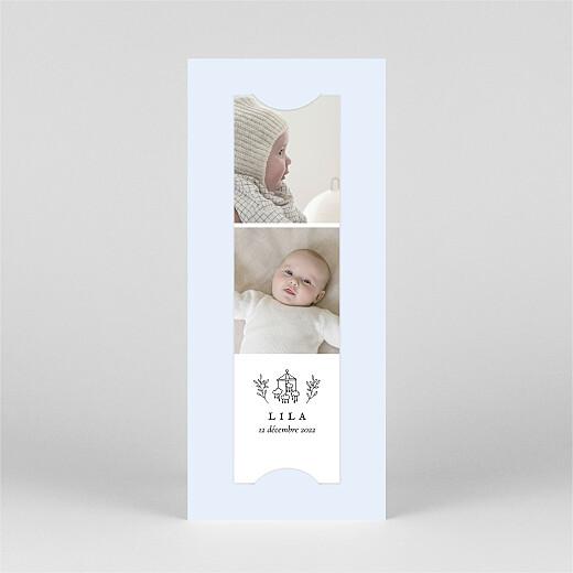 Faire-part de naissance Petite gravure (marque-page) bleu - Vue 2