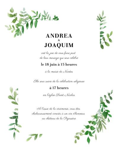 Faire-part de mariage Sous la pergola (portrait) vert