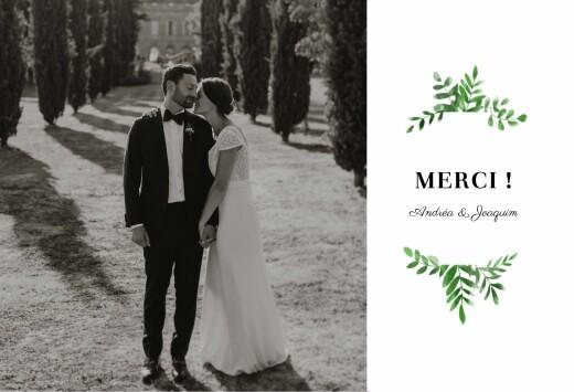 Carte de remerciement mariage Sous la pergola (paysage) vert