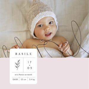 Faire-part de naissance Étiquette illustrée (4 pages) rose