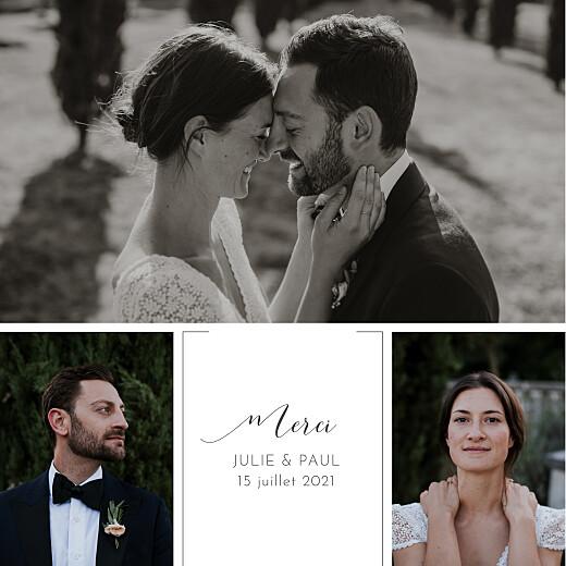 Carte de remerciement mariage Feuille d'or blanc