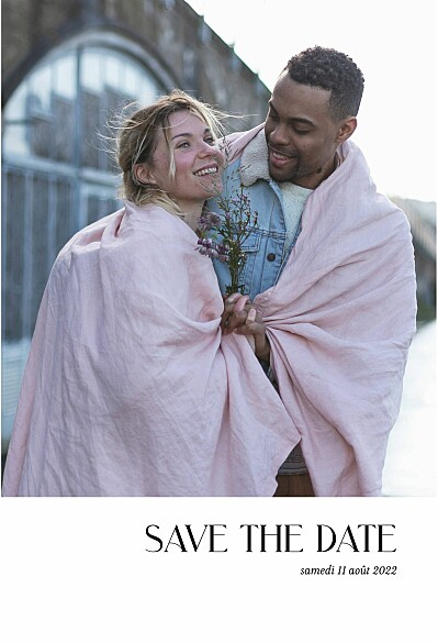 Save the Date Simplement blanc finition