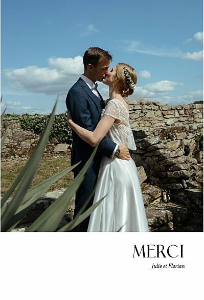 Carte de remerciement mariage Simplement blanc finition