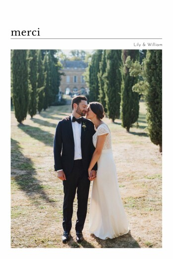 Carte de remerciement mariage Édito blanc