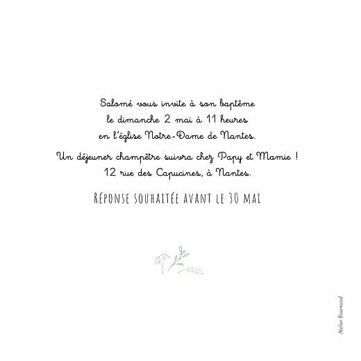 Faire-part de baptême Ronde des prés vert/rose - Page 2
