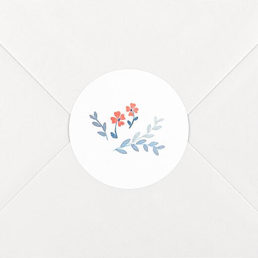 Stickers pour enveloppes naissance Jardin de capucines bleu - Vue 2