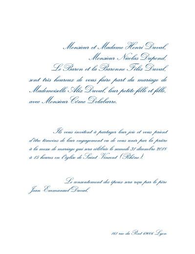 Faire-part de mariage Traditionnel (grand format) blanc