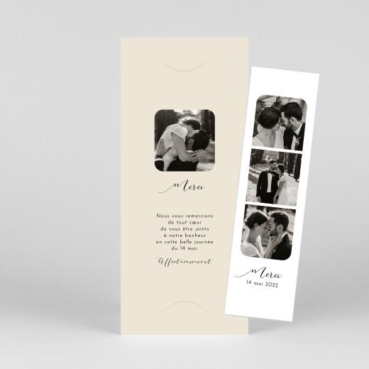 Carte de remerciement mariage Tendre innocence (marque-page) beige - Vue 1
