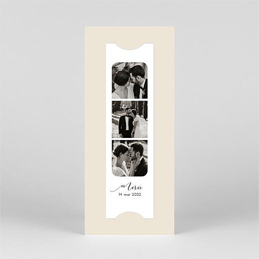 Carte de remerciement mariage Tendre innocence (marque-page) beige - Vue 2