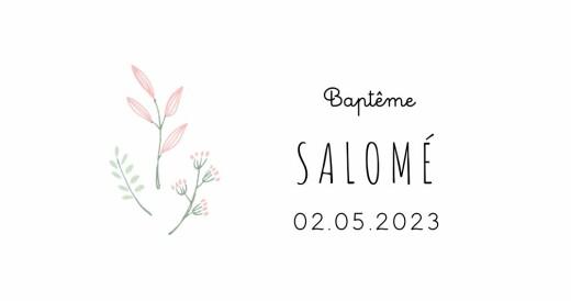 Marque-place Baptême Ronde des prés vert/rose