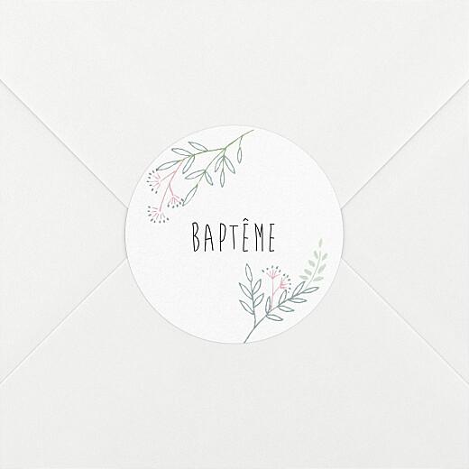 Stickers pour enveloppes baptême Ronde des prés rose - Vue 2