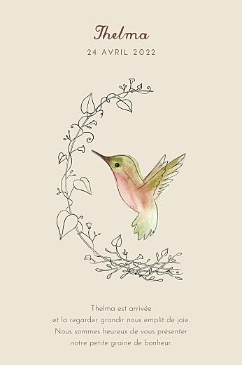 Faire-part de naissance Petit colibri (portrait) beige