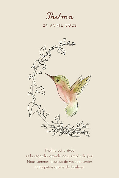Faire-part de naissance Petit colibri (portrait) beige finition