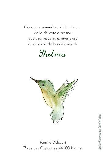 Carte de remerciement Petit colibri vert - Page 2