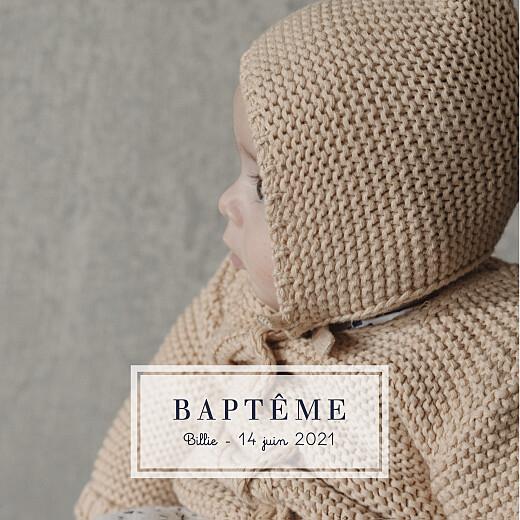 Faire-part de baptême Petite étiquette blanc