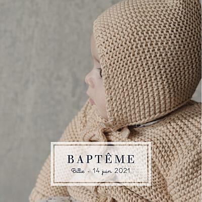 Faire-part de baptême Petite étiquette blanc finition