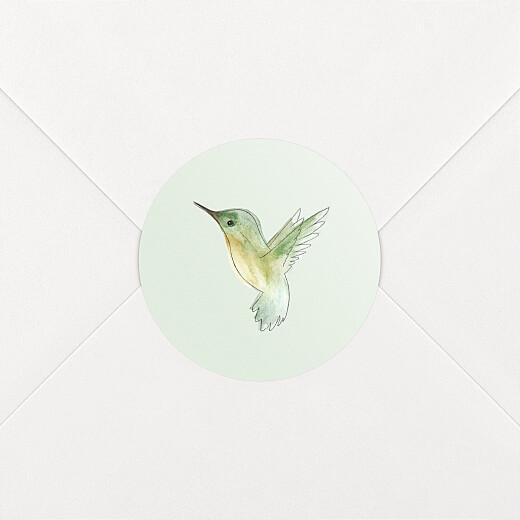 Stickers pour enveloppes naissance Petit colibri vert - Vue 2