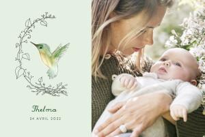 Faire-part de naissance Petit colibri (paysage) vert