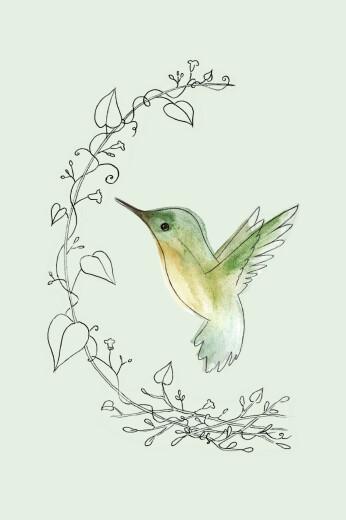 Carte de correspondance Petit colibri vert