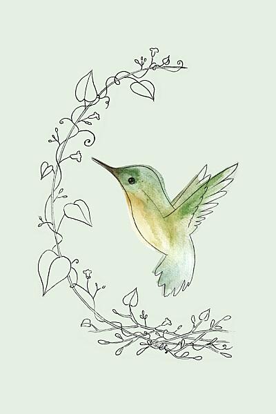 Carte de correspondance Petit colibri vert finition