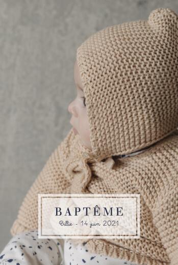 Faire-part de baptême Petite étiquette (portrait) blanc