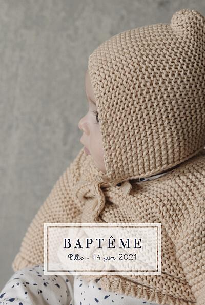 Faire-part de baptême Petite étiquette (portrait) blanc finition