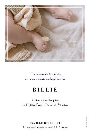 Faire-part de baptême Petite étiquette (portrait) blanc - Page 2