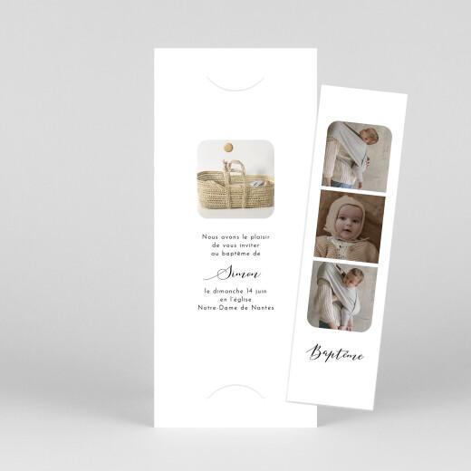 Faire-part de baptême Tendre innocence (marque-page) blanc - Vue 1