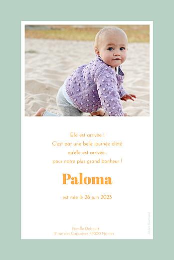 Faire-part de naissance Petit polaroïd (portrait) vert - Page 2