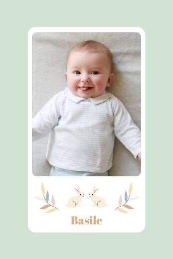 Faire-part de naissance Liberty lapin (portrait) aqua