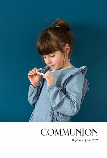 Faire-part de communion Simplement bleu marine