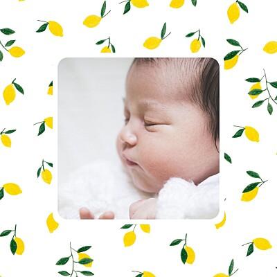 Faire-part de naissance Agrumes crayonnés citrons finition