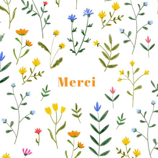 Carte de remerciement Fleurs sauvages blanc