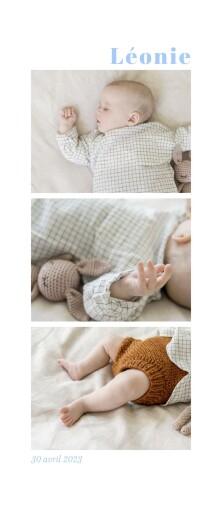 Faire-part de naissance Petite fleur sauvage blanc